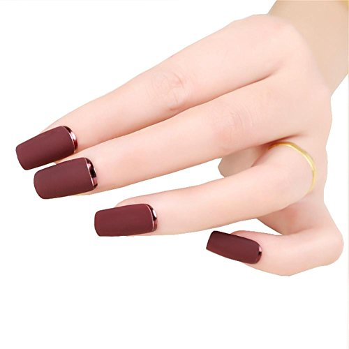 [Brown Red Fake Nails Matte Metal Manicure French Long Design Full Cover False Nails with Metal Side Nail Tips] (Red Fake Nails)