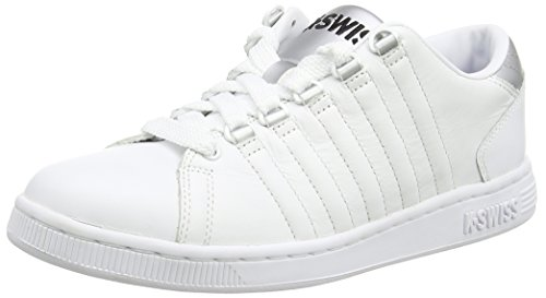 K-Swiss Women's Lozan III Fashion Sneaker, White/Silver/Black, 9.5 M US
