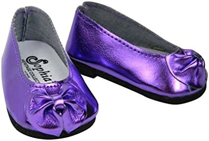 Pair of Purple Dress Shoes with White Bow for 18 Inch Dolls