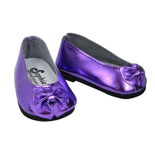 Shiny Metallic Purple Patent Bow Doll Shoe, Fits 18 Inch