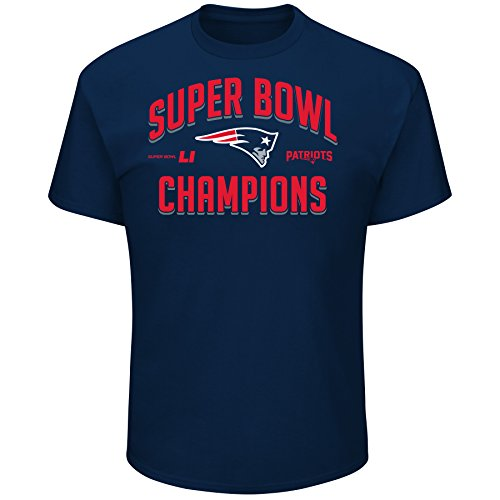 NFL The New England Patriots Men's Super Bowl LI Champion Arch Tee, Large, Athletic Navy (England Home Long Sleeve Jersey)