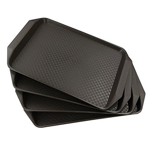 HOMMP 4-Pack 17'' x 11.8'' Plastic Non-slip Serving Trays, Heavy Duty, Rectangular
