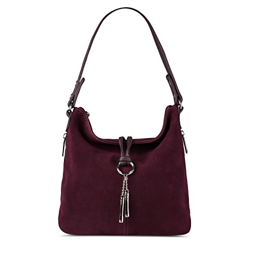 - Nico Louise Women Split Real Leather Shoulder Bag Female Suede Crossbody handbag Casual Lady Messenger Hobo Top-handle Bags (dark purple)