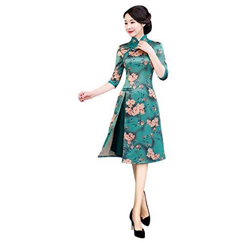 Floral Mujer Hzjundasi Elegante 354 Tradicional Chino Vintage Claro De Verde Cheongsam Qipao Vestido China Impresión Traje vWqnrHAdqO