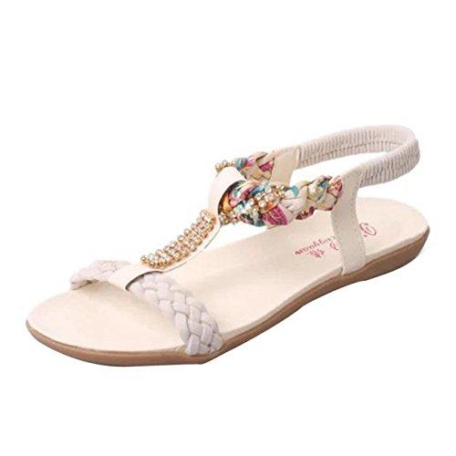 Sandalias de verano, Internet Mujeres verano correa elástica casual sandalias Beige
