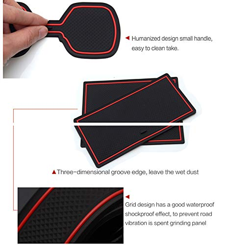 Door Slot Pad Center Console Mats Interior Accessories Anti-Dust Anti-Slip Blue Cup Holder Liner Custom Fit for 2011-2013 Mazda 3 6pcs