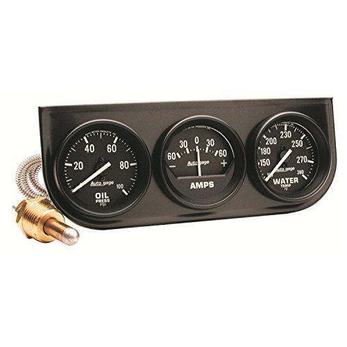 Auto Meter 2393 Autogage Black Oil/Amp/Water Gauge with Steel ()
