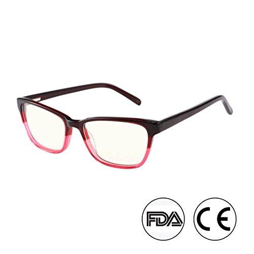 Anti Blue Light Glasses, Acetate Frame Anti Harmful Blue Ray Eyestrain Relieving (Wine)