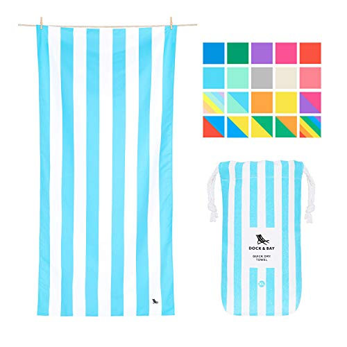 Fast Dry Beach Towels Compact - Tulum Blue, Extra Large (200x90cm, 78x35) - Fast Drying Towel for Traveling, Beach Towel Set