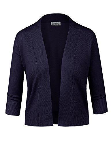 BIADANI Women Classic 3/4 Sleeve Crop Cardigan Navy Medium