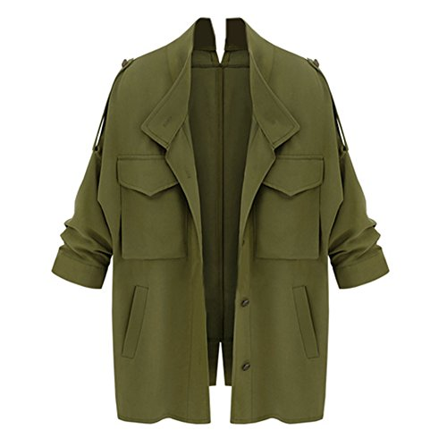 Diamondo Women Autumn Winter Women Coat Loose Outerwear Overcoat (Army Green, (Belted Tweed Belt)