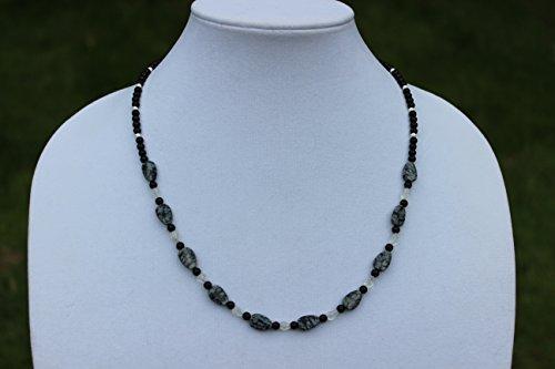 Snowflake Obsidian Necklace, Rainbow Moonstone Necklace, Jasper Necklace, Carved Leaf Necklace, Boho Necklace, Handmade Necklace, Bohemian (Snowflake Jasper)