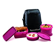 Signoraware Trio Plastic Lunch Box with Bag, Pink
