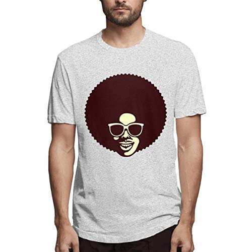 BYSKA Men Designed \r\nComfortable Funky Cool African Man with Afro Hairstyle and Sunglasses Short Sleeve Cool T-Shirts Gray ()