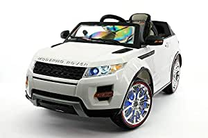 12V Battery Powered Moderno Rover Ride On Kids Toy Car with LED Wheels MP3 Leather Seat Parental Remote Control (White)