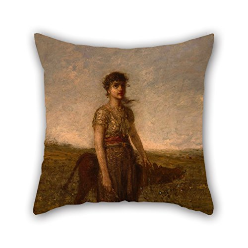 Uloveme Oil Painting George Fuller - Girl And Calf (Led Through Meadows) Pillow Covers ,best For Teens,valentine,dance Room,wedding,drawing Room 16 X 16 Inches / 40 By 40 Cm(two Sides)