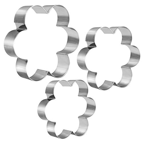KSPOWWIN 3 Pieces Cookie Cutters Set Stainless Steel Mold Flower Shape Cookie Cutter in Graduated Sizes Shape -