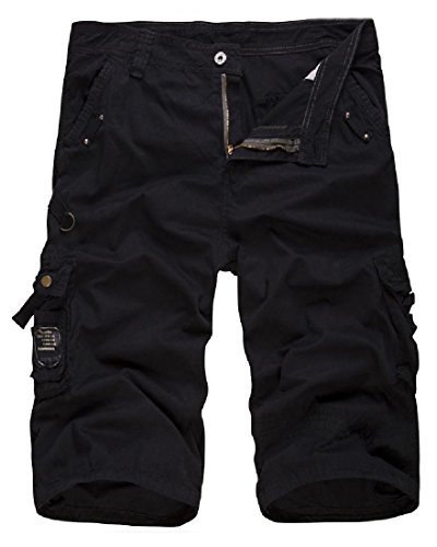 Coolred-Men Washed Fine Cotton Basic Style Textured Cargo Shorts Black 28 by Coolred-Men (Image #1)