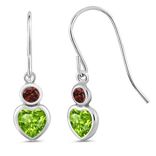 Gem Stone King 1.26 Ct Heart Shape Green Peridot Red Garnet 925 Sterling Silver Earrings ()