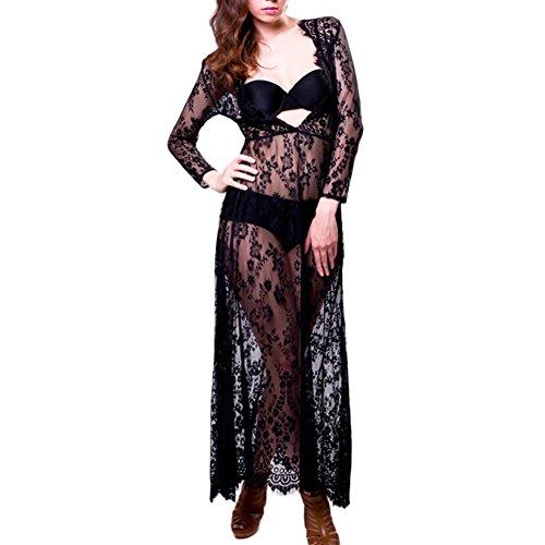 Yalatan Femmes dentelle Floral Beach Cover Ups manches longues robe de soir