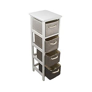 FRANDIS Meuble Victoria-4 tiroirs, Structure Bois laqué Blanc, paniers tressés, Coloris Gris/Noir Dim Produit : 25 x 29…