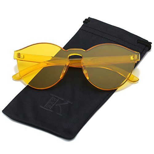 LKEYE-Fashion Party Rimless Sunglasses Transparent Candy Color Eyewear LK1737 Yellow - Yellow Frame