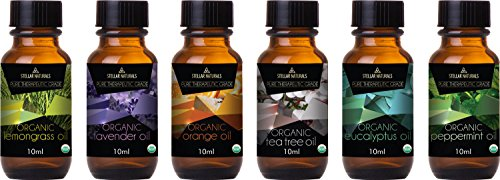 Stellar Naturals Organic USDA Aromatherapy Set of Lavender, Eucalyptus, Lemongrass, Peppermint, Tea Tree and Orange for Therapeutic Bliss by Stellar Naturals (Image #3)