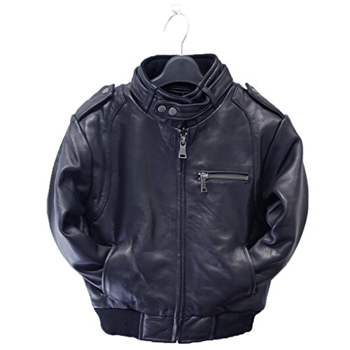 Tanners Avenue Childrens Genuine Lambskin Moto Bomber Leather Jacket - Toddlers & Kids Navy - Outerwear Lambskin Leather Bomber