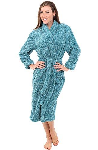 Womens Bath Robe (Alexander Del Rossa Womens Fleece Robe, Plush Microfiber Bathrobe, Small Medium Two Tone Ocean Depth Green (A0302CODMD))