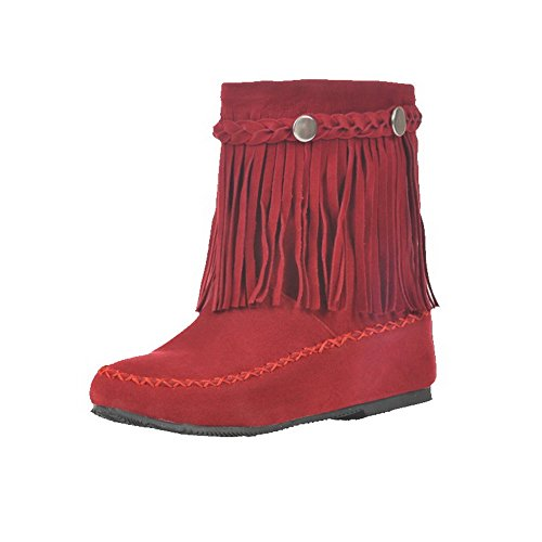 AgooLar Women's Round-Toe No-Heel Frosted Solid Pull-On Boots Red pZCO7Pawf