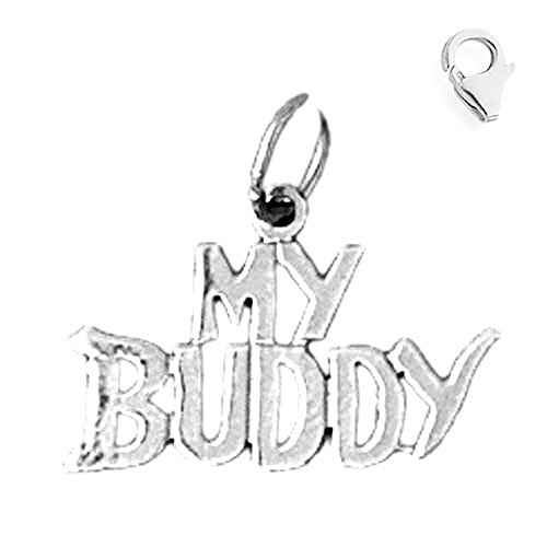 559b50f5c 14K White Gold 15mm My Buddy Saying Charm w/ Lobster Clasp