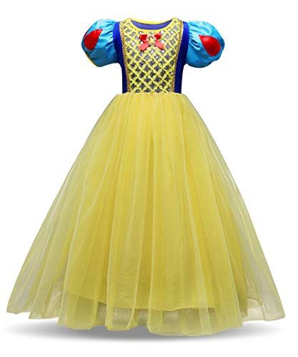 Eshiree Little Girls Princess Snow White Costume Puff Sleeve Yellow Dress Up