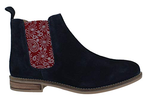 Ankle Low Boots Street Low Navy Womens Mid Paisley Pull Chelsea Dealer Silver On Heeled OwvzxCAqq
