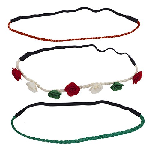 Lux Accessories Festive Holiday Christmas Flower Suede Braid Headband Set (3pcs) -