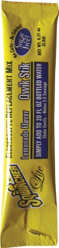 Sqwincher 060103-LA 0.11 oz Lite Qwik Stik Powder Concentrate Electrolyte Replacement Beverage Mix, Lemonade Flavor (10 Bags of 50) by Sqwincher