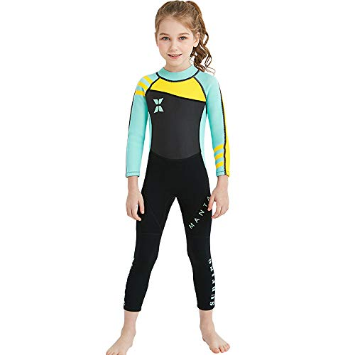 DIVE & SAIL Kids 2.5Mm Long Sleeve One Piece Full Body Wetsuit Uv Protection Thermal Swimwear Keep Warm for Scuba Diving Surfing Snorkeling Swimming Fishing for Boys Girls (Green, XX-Large)