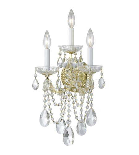 Gold 3 Light Wall (Wall Sconces 3 Light With Gold Clear Spectra Crystal Glass Candelabra 11 inch 180 Watts - World of Lighting)