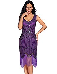 Women's Fringed Sequin Beaded Tassels Hem Dress