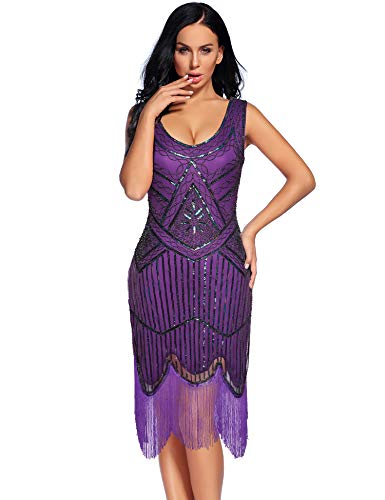 Women's Vintage 1920s Fringed Gatsby Sequin Beaded Tassels Hem Flapper Dress (Purple, L)]()