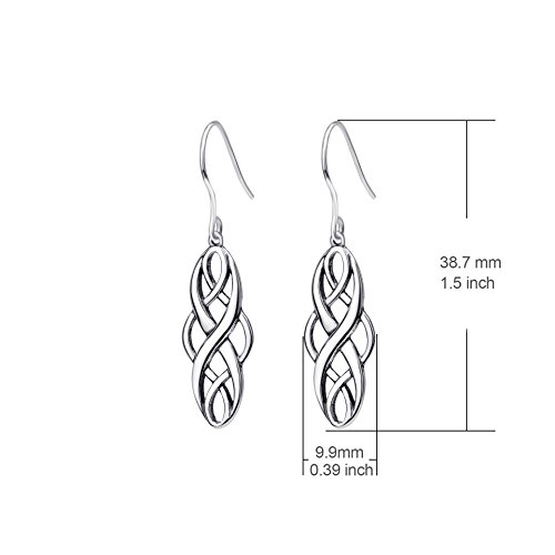 S925 Silver Earrings Solid Sterling Silver Polished Good Luck Irish Celtic Knot Vintage Dangles (Oxidation) by Angel caller (Image #2)