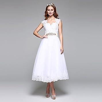 kekafu línea de longitud de Té Scalloped-Edge en Tul vestido de novia con cordón