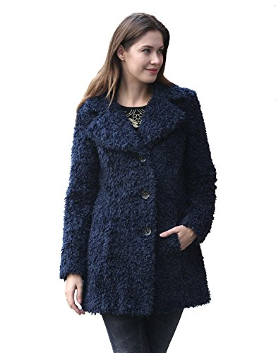 ENJOYFUR Enjoy Fur Women's New Style Dark Blue Faux Fleece Coat With Notched Collar (X-Small) (Fur Notched Collar Coat)