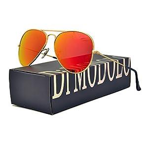 Premium Full Mirrored Aviator Sunglasses w/ Orange Flash Mirror Glass Lens (Frame: Matte Gold / Lens: Orange flash, Polarized)