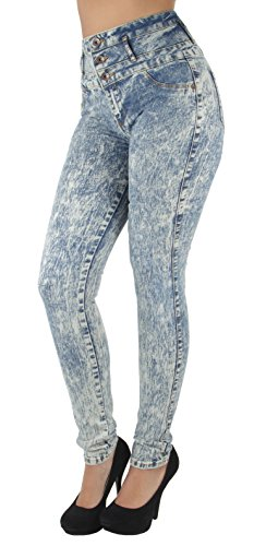 Fashion2Love N076N – Colombian Design, Butt Lift, Levanta Cola, High Waist Sexy Skinny Jeans in Acid Washed Blue Size 1
