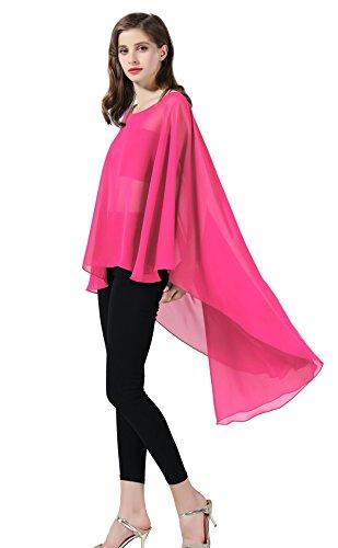 Chiffon Capelet Sheer Bridal Shawl For Women Materbity Cape Plus Size Poncho Wrap Rose