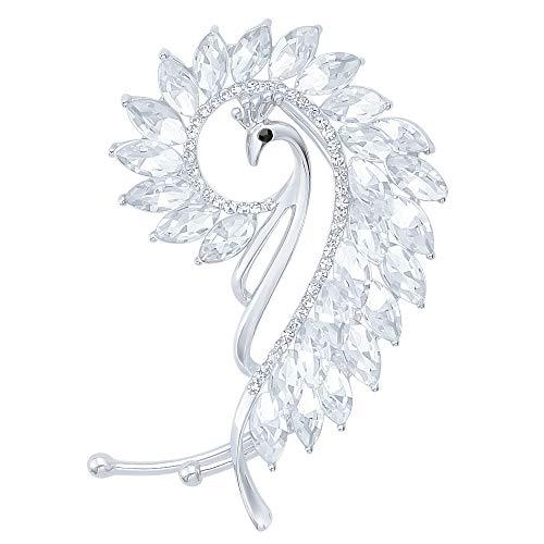 (Shining Jewelry Silver Plate Clear Crystal Peacock Left Side Ear Wrap Cartilage Cuff Earring No Pierced Ear)