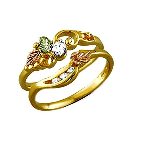 Diamond Bridal Set Engagement and Wedding Ring, 14k Yellow Gold, 12k Green and Rose Gold Black Hills Gold Motif , Size 8 by Black Hills Gold Jewelry