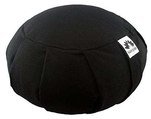 Zafu Yoga Meditation Pillow with USA Buckwheat Fill, Certified Organic Cotton- 6 Colors (Black)