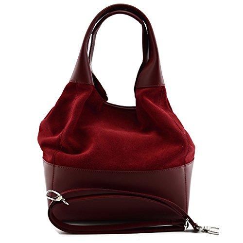 Borsa Donna Shopper In Vera Pelle Scamosciata Colore Rosso - Pelletteria Toscana Made In Italy - Borsa Donna