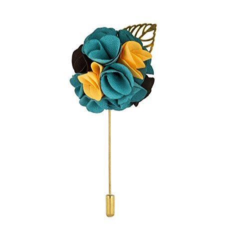 Knighthood Men's Bunch Flower with Golden Leaf Lapel Pin for Suit (Emerald Green Yellow & Black)